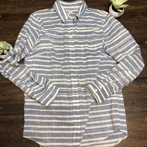 J Crew Vertical Striped Blue & White Striped SZ S
